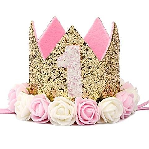 Baby Girl First Birthday Hat 1st 2nd 3rd Birthday Party Cap Pink Princess (1st Birthday Girl Pin)