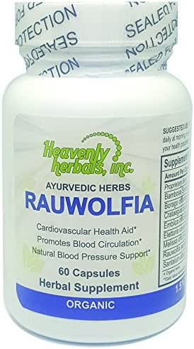 Rauwolfia Capsules, Organic Herbal Supplement – Rauvolfia Serpentina Extract | Ayurvedic Herb & Natural Remedy | Natural Blood Pressure Support, Cardiovascular Health Aid– 60 Ct. by Heavenly