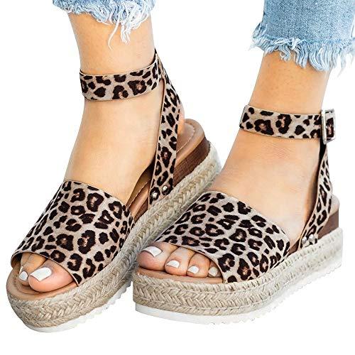 Athlefit Women's 2019 Platform Sandals Espadrille Wedge Ankle Strap Studded Summer Sandals Size 8 Leopard (Best Women's Sandals 2019)