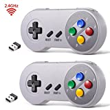 double dragon 3 - 2 Pack 2.4 GHz Wireless USB Controller Compatible with Super Famicom Games, iNNEXT SNES Retro USB Classic Controller Joypad Joystick for Windows PC MAC (Multi-Colored Keys)