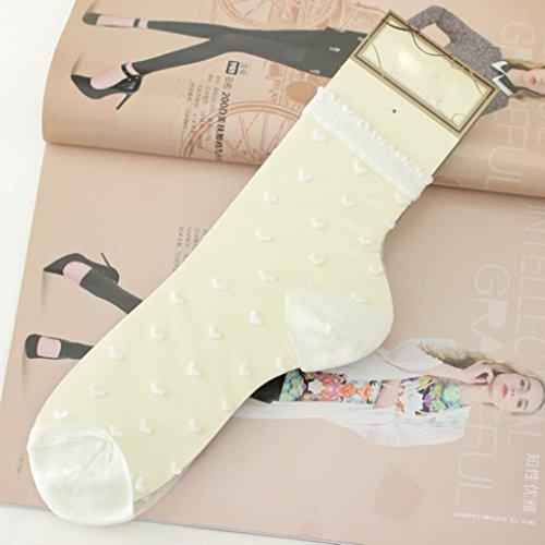 Chaussettes Courtes Pour Femmes, Egmy New Chaussettes Ultraminces Womans Crystal Transparent Chaussettes Courtes Élastique White