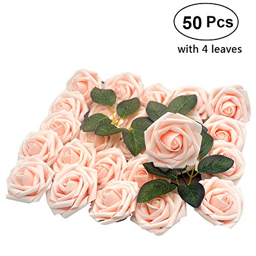 Lmeison Artificial Flower Rose, 50pcs Real Looking Artificial Roses w/Stem for Christmas Tree Decorative, Bridal Wedding Bouquets Centerpieces Baby Shower DIY Party Home Décor, Blush with 4 Leaves