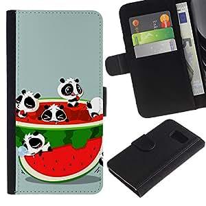 All Phone Most Case / Oferta Especial Cáscara Funda de cuero Monedero Cubierta de proteccion Caso / Wallet Case for Samsung Galaxy S6 // Watermelon Fruit Fresh Red Panda Bear Cute