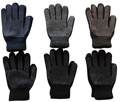 Mens excell Winter Heavy Knit Rubber Gripper Gloves (6 Pairs (Knit Gripper Glove)