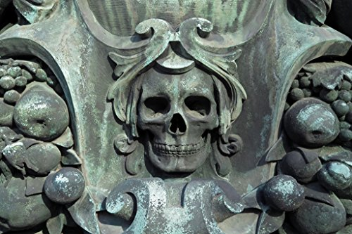 Weathered Skull Sculpture from Cemetery Statue Photo Art Print Poster 18x12 inch