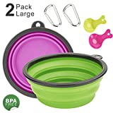 N-One Collapsible Extra Large Adjustable Dog Cat Water & Food Bowls, 2 Pack,Green & Purple Food Grade Silicone BPA Free FDA Approved, Double Feeding Portable Outdoor Travel Dog Bowls Free Carabiner