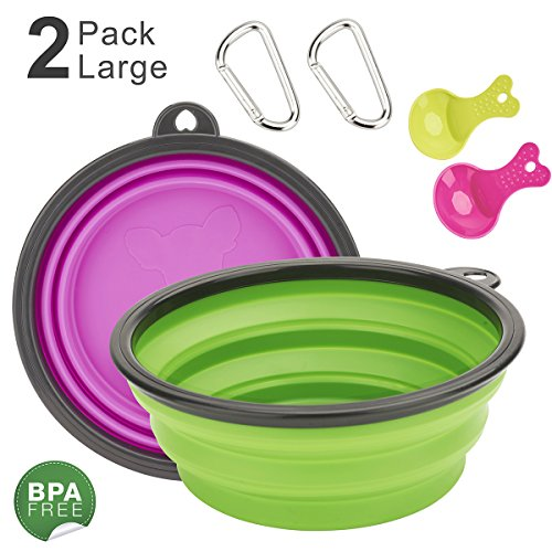 DARUNAXY Extra Large Adjustable Dog Cat Water & Food Bowls, 2 Pack,Green & Purple Food Grade Silicone BPA Free FDA Approved, Double Feeding Portable Outdoor Travel Dog Bowls Free Carabiner