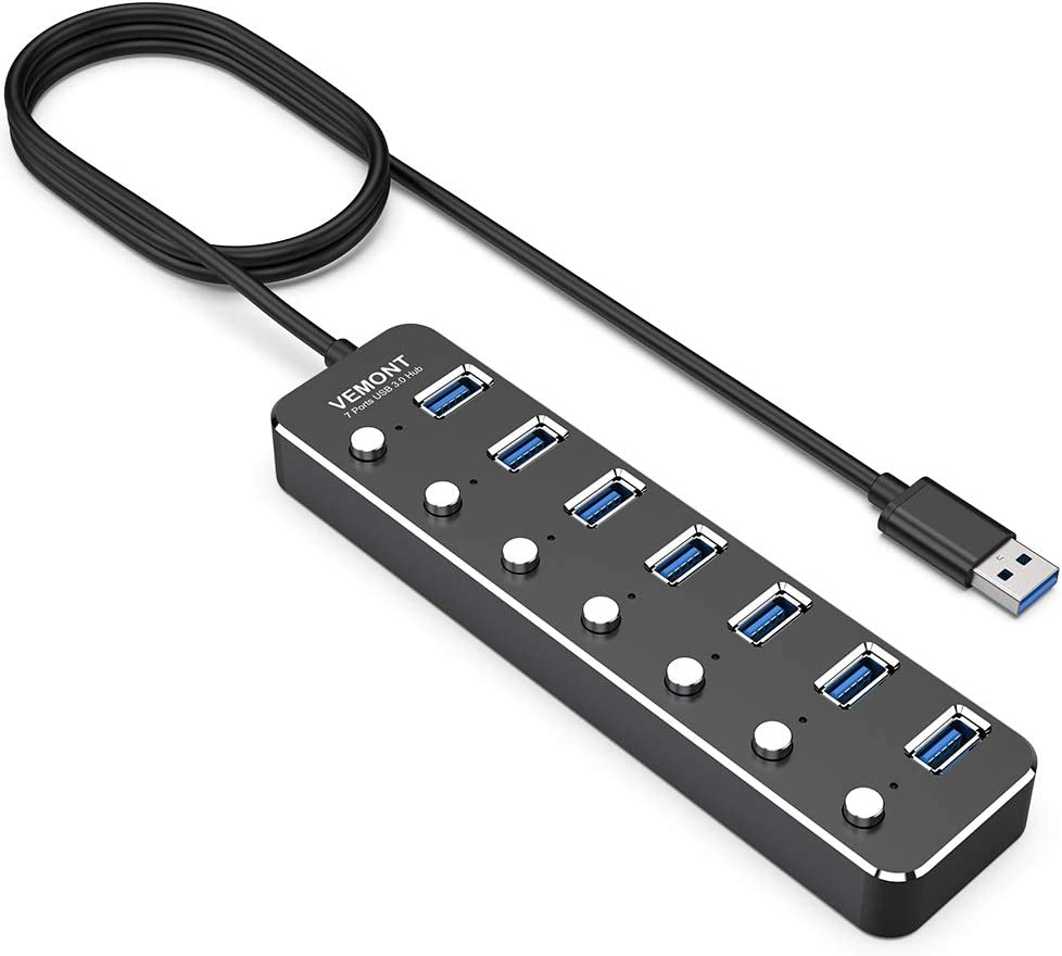 VEMONT USB hub Aluminum USB 3.0 Data Hub with Individual On/Off Switches and LED Lights for Laptop, PC, Computer (4ft/120cm) (7port)