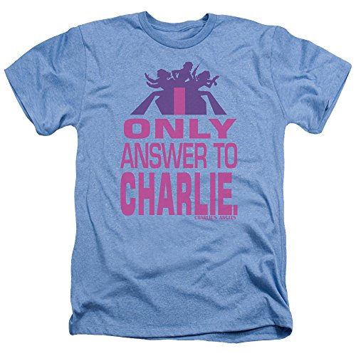 Charlies Angels Answer Unisex Adult Heather T Shirt for Men and Women, X-Large Light Blue