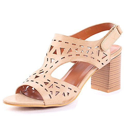 Alexis Leroy - Alexis Leroy Womens shoes Howllow-out Pattern Buckle Style Heeled Sandals para mujer Beige