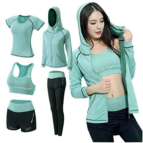 5PCS Yoga Clothing Suit Set Tracksuit Running Gym Winter Fitness Clothing Womens