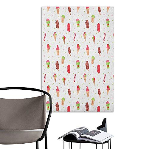 Wall Mural Wallpaper Stickers Ice Cream Summertime Inspired Watercolor Pattern with Yummy Dessert Ice Lolly and Cone Multicolor Fashion Stickers for Wall W20 x H28