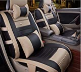 Sunluway® 2015 Latest Universal 10PCS Full Set Needlework PU leather Front Rear Car Seat Cushion Cover (Black & Tan)