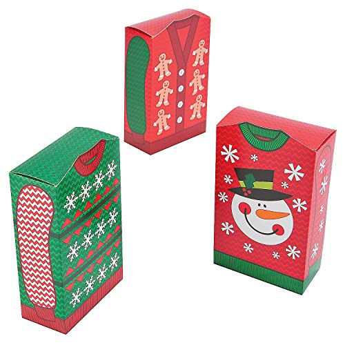 Fun Express - Ugly Sweater Favor Boxes for Christmas - Party Supplies - Containers & Boxes - Paper Boxes - Christmas - 12 Pieces