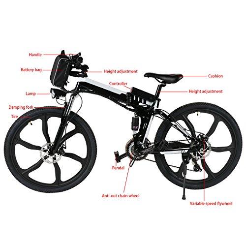 begorey Bicicleta de Montaña Electrica 26 Pulgadas 27 Velocidad Plegable Eléctrica Energía con Batería de Lon de Litio (Negro): Amazon.es: Deportes y aire ...