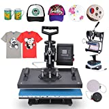Image of Happybuy 5 in 1 Heat Press Machine 12 X 15 Inch 360 Degree Swing-away Heat Press Multifunction Sublimation T Shirt Press Machine Transfer Printer for Plate Mug Cup Hat (5 in 1 Swing-away)