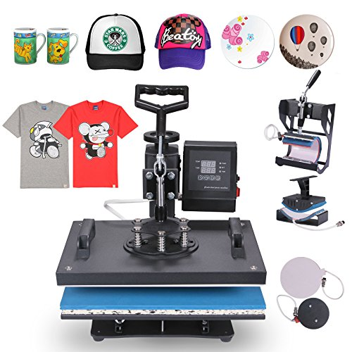 Happybuy 5 in 1 Heat Press Machine 12 X 15 Inch 360 Degree Swing-away Heat Press Multifunction Sublimation T Shirt Press Machine Transfer Printer for Plate Mug Cup Hat (5 in 1 Swing-away)