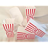 Popcorn Container with Popcorn Scoop, Reusable Plastic Tub Set of 4 and 2-cup Popcorn Scoop