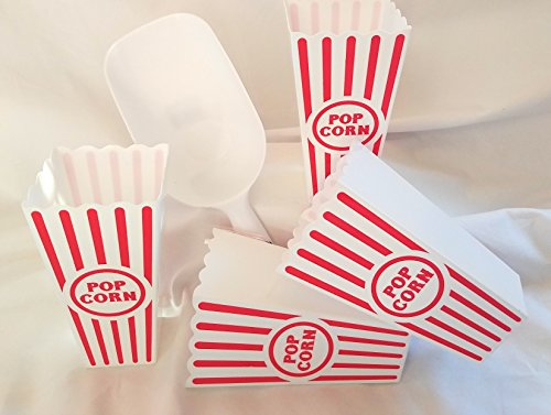 Everyday Whim Popcorn Container with Popcorn Scoop, Reusable Plastic Tub Set of 4 and 2-cup Popcorn Scoop by Everyday Whim