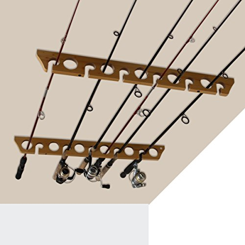 Rush Creek Creations 3 in 1, 11 Fishing Rod Wall Ceiling Storage Rack - Versatile - Space Saving
