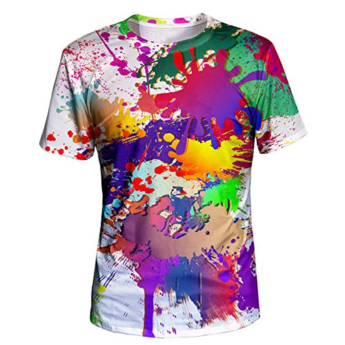 Asylvain Unisex Classic White 3D Colorful Shirts for