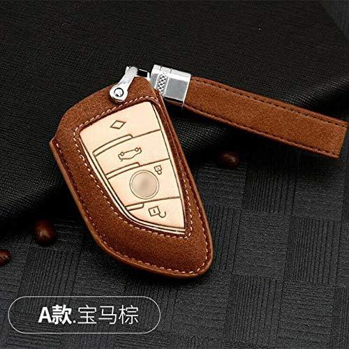 GAODAYU Autoschlüsselschale Geeignet für BMW Smart Schlüsselbund Box Schlüsselbund Schlüsseletui Wildleder Schlüsselanhänger Schlüssel Tasche, Typ A, Braun