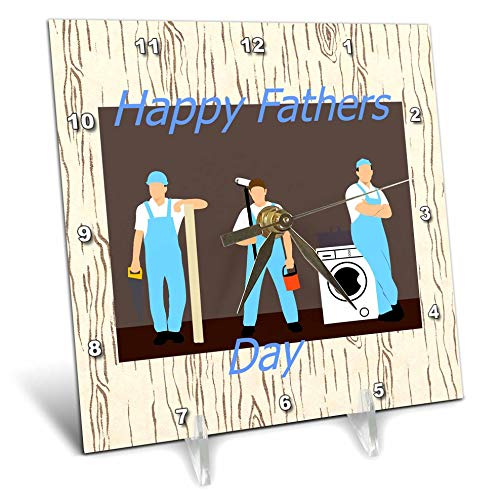 3dRose Lens Art by Florene - Fathers Day - Image of Happy Fathers Day Workman in Uniform On Aged Wood - 6x6 Desk Clock (dc_312630_1)