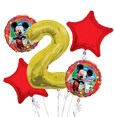 Mickey Mouse Balloon Bouquet 2nd Birthday 5 pcs - Party Supplies -