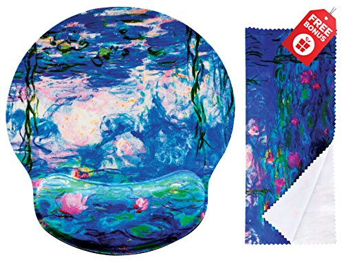 Claude Monet Water Lillies 1917 Ergonomic Design Mouse Pad with Wrist Rest Hand Support. Round Large Mousing Area. Matching Microfiber Cleaning Cloth for Glasses & Screens. Great for Gaming & Work