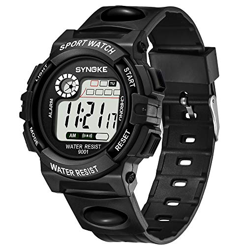 ZUKN Digital Smart Sportwatche, 30M Waterproof Outdoor with Alarm/Timer/Dual Time Zone/LED Light Shock Resistant Wrist Watches for Childrens,Black ()