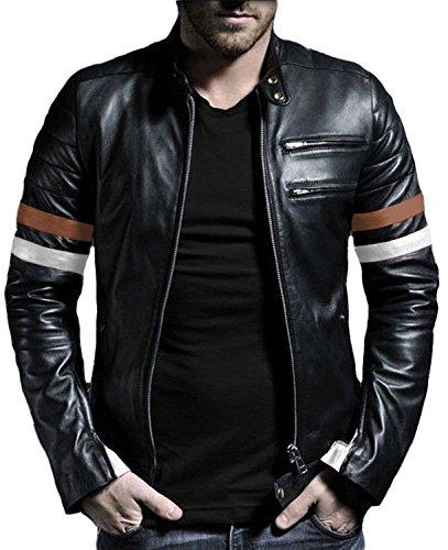 Laverapelle Men's Black-Cognic Tan-White Genuine Lambskin Leather Jacket - 1501535 - (Genuine Lambskin Leather)