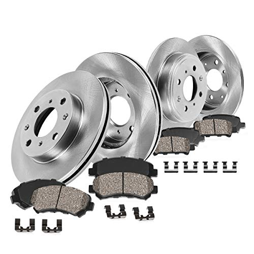 FRONT 254.7 mm + REAR 251 mm Premium OE 4 Lug [4] Rotors + [8] Quiet Low Dust Ceramic Brake Pads + -