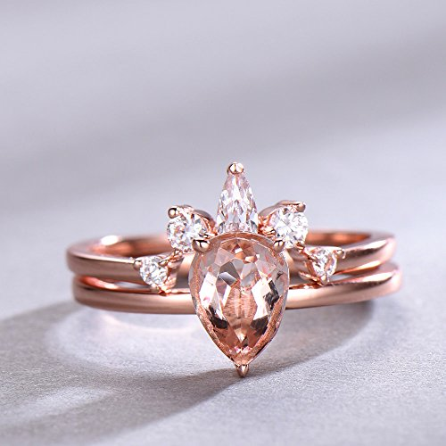 Pear Shape Pink Morganite Wedding Ring Set 925 Sterling Silver Rose Gold CZ Diamond Curved Stacking Ring by Milejewel Morganite Engagement Ring (Image #1)