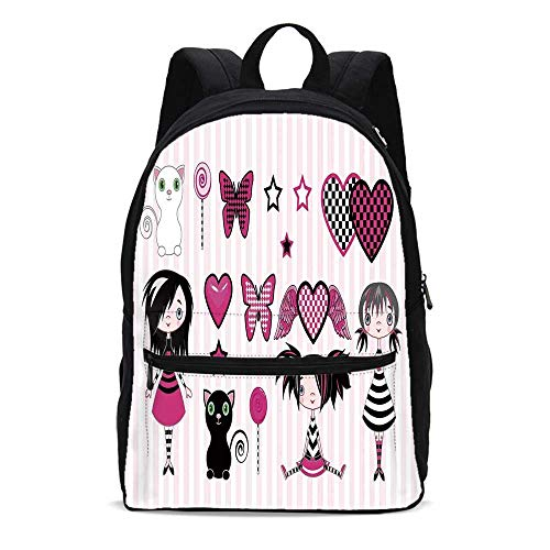 Teen Girls Room Decor Durable Backpack,Young Emo Fashion Butterfly Lollipop Kitten Heart with Angel WIngs and Stars Decorative for School Travel,10.6