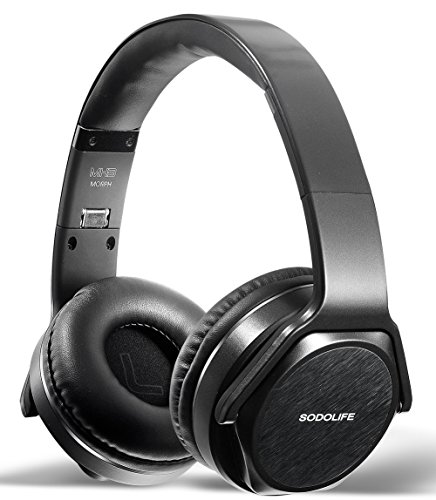 SODOLIFE 2 in 1 Wireless Headphones and Stereo Speakers, Bluetooth Headsets Over Ear Foldable Design with Comfortable Protein Earpads for Travel Work TV Computer Cell Phones – MH3 (Black)