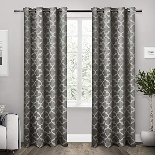 Exclusive Home Cartago Insulated Woven Blackout Grommet Top Curtain Panel Pair, Black Pearl, 54x108, 2 Piece