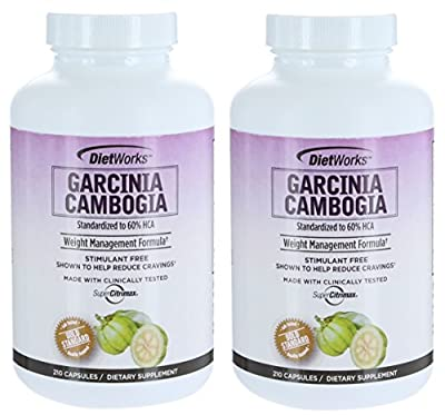 Dietworks Garcinia Cambogia 210 Vegetarian Capsules 60% HCA (Pack 2 bottles)