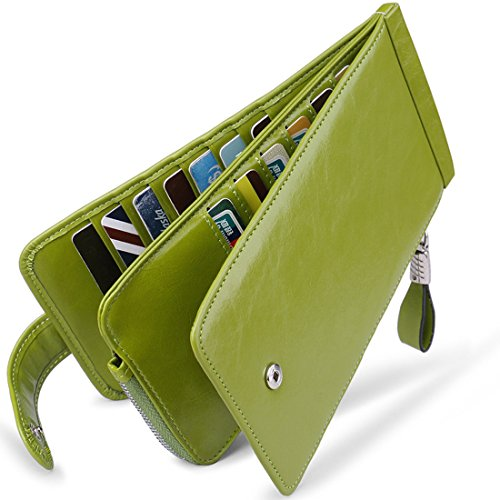 Huztencor Credit Card Holder RFID Blocking Wallet for Women Credit Card Wallet Card Cases Slim Multi Card Organizer Protector Long Wallet Purse Clutch with ID Window Oil Wax Leather Green