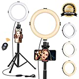 """Photo : 8"""" Ring Light with Tripod Stand - Dimmable Selfie Ring Light LED Camera Ringlight with Tripod and Phone Holder for Live Stream/Makeup/YouTube Video, Compatible for iPhone Android, Remote(Upgraded)"""