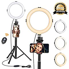 """VIEWOW 8"""" Selfie Ring Light with Tripod Stand  3 Colors Lighting Mode & 10 Levels of Brightness 3 Light Color - Cool Light, Warm Light and Natural Light. 10-Level Brightness - Customize your lighting source to the best. Upgraded Arcuated ..."""