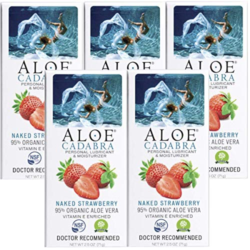 Aloe Cadabra Flavored Personal Lubricant Organic Passion Lube for Anal Sex, Oral, Women, Men & Couples, Naked Strawberry…