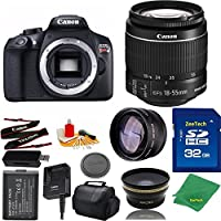 Great Value Bundle for T6 DSLR – 18-55mm STM + 32GB Memory + Wide Angle + Telephoto Lens + Case