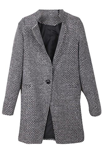 rm Houndstooth Long Sleeve One Button Trench Coat Gery M (Wither Half Wool)