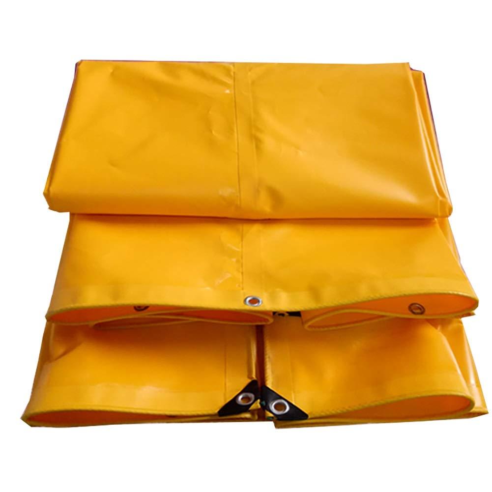D_HOME Verdicken Sie Wasserdichte Hochleistungsplane-Plane-Boden-Blatt-Abdeckungen Schatten-Tuch im Freien - Gelb, 650G   M² (größe   3x4m)