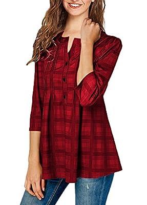 ONLYSHE Women's Button-Down Plaid Shirts Ruffles Blouses Casual Tunic Tops 3/4 Sleeves