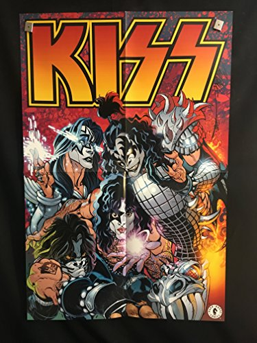 KISS Original 2002 Comic Book Poster (2 Sided) RARE, art by J Scott Campbell, Gene Simmons, Paul Stanley, Ace Frehley, Peter Criss