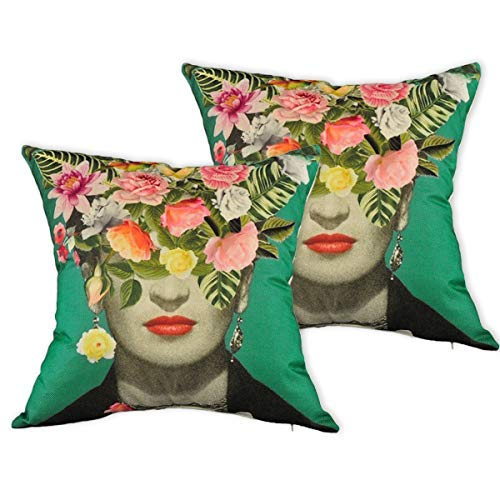 Multiart Set of 2,Decorative Throw Pillow Covers for Couch,Sofa,Bed,Frida Kahlo with Floral & Bird Throw Pillow Case,Cushion Cover Linen/Cotton 18 x 18inch,Turquoise/Green/Pink/Yellow (Pink Green Pillows And)