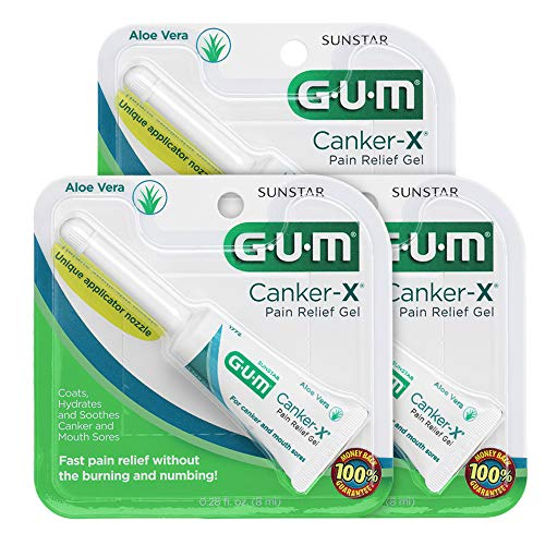 GUM Canker-X Pain Relief Gel, 0.28 Ounce Tube (Pack of 3)