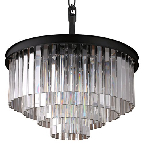 (Crystal Ceiling Light 4-tier Chandelier Lighting Modern Lamps Chrome Finish H17.7