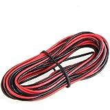 SODIAL(R) 2x 3M 24 Calibre AWG Caoutchouc Silicone Fil de Cable Rouge Noir flexible [Divers.]